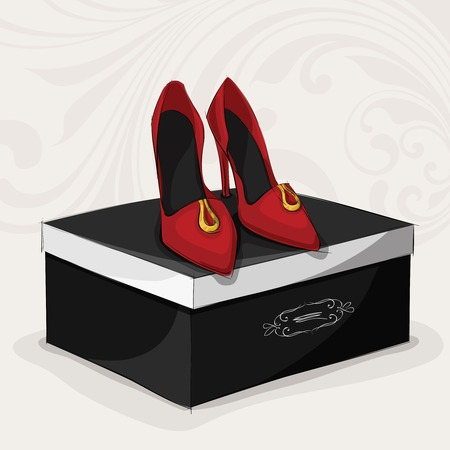 shoes vector: Fashion womans red shoes on high heels on black luxury gift box vector illustration Illustration
