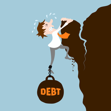debts: Business man with debt falling from cliff concept vector illustration