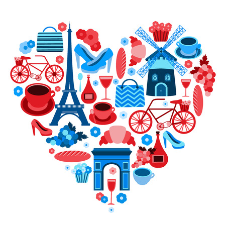 french culture: Love Paris heart symbol with icons set isolated vector illustration