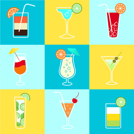 orange juice glass: Cocktails party icons set of alcohol drinks martini vodka tequila and brandy isolated vector illustration