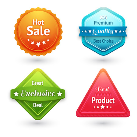 exclusive icon: Collection of sale labels stickers or tags for best price high quality and exclusive deal isolated vector illustration Illustration