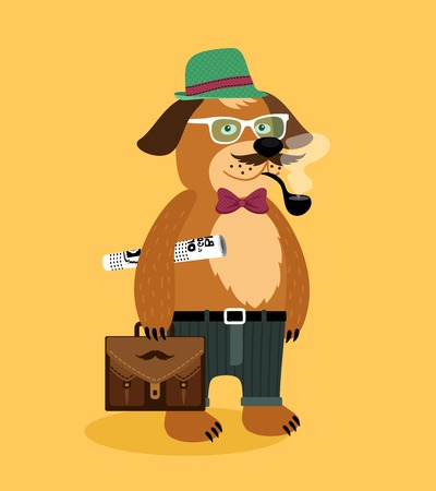 Hipster nerd puppy dog with glasses pipe newspaper and suitcase vector illustration Vector