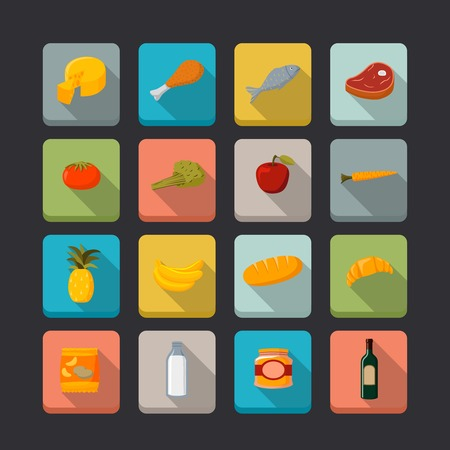 Supermarket foods icons set of fresh and natural vegetables fruits meat and fish isolated  Vector