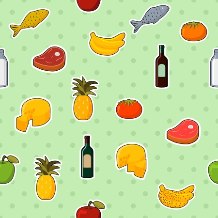 Supermarket foods seamless pattern of fresh and natural vegetables,fruits, meat and cheese   Vector