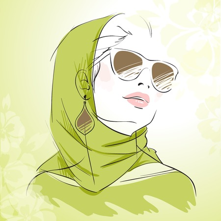 headscarf: fashion girl portrait in green colors wearing headscarf with floral background  Illustration