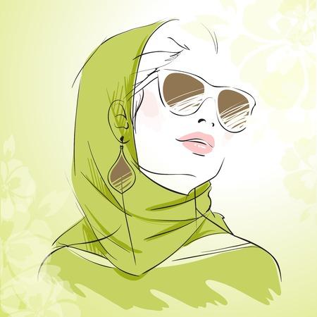 kopftuch: Mode M�dchen Portr�t in gr�nen Farben mit Kopftuch mit Blumenhintergrund