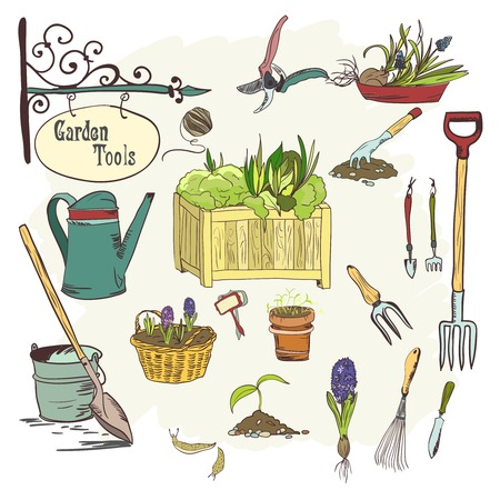 hoe: Hand drawn sef of gardening tools for plants, flowers, farming and agriculture