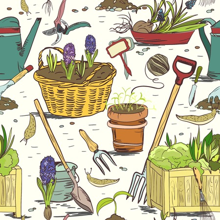 hoe: Hand drawn seamless gardening tools for plants, flowers, farming and agriculture