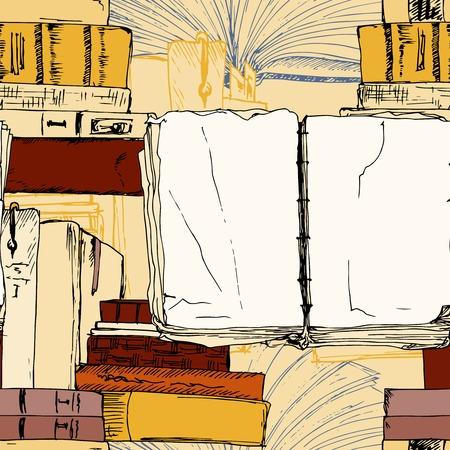 Open book seamless background pattern