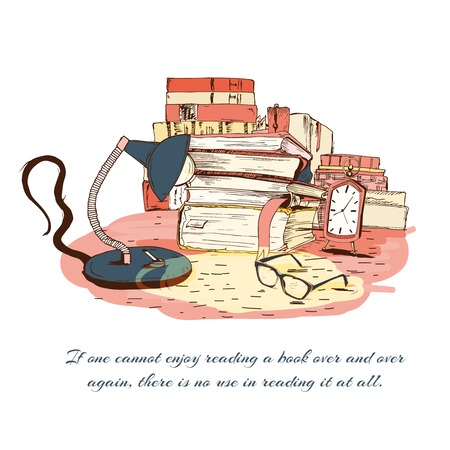 sketch book: Books with glasses, lamp and clock isolated