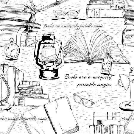 magazine stack: Black and white books reading seamless background pattern