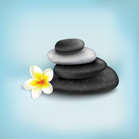 spa stones: Spa stones with exotic tropical flower
