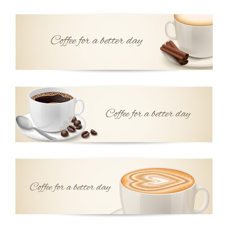 Collection of banners with coffee cups filled with espresso cappuccino isolated