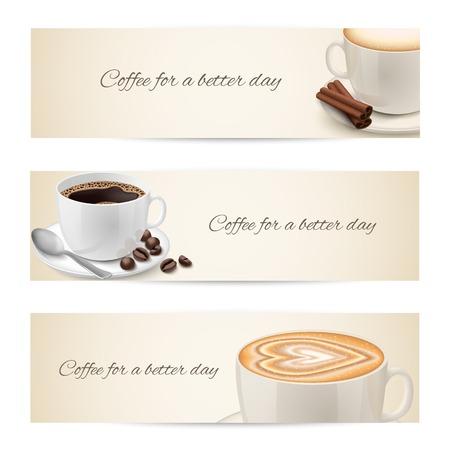 Verzameling van banners met koffie kopjes gevuld met espresso cappuccino geïsoleerd