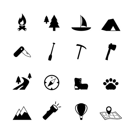 Outdoors tourism camping pictograms collection  Vector