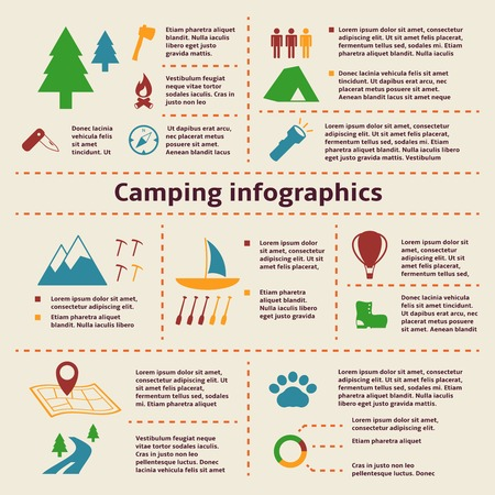 camp fire: Camping and outdoor activity tourism infographic elements  Illustration