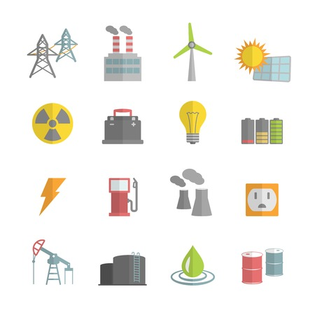 gas turbine: Energy power flat icons set