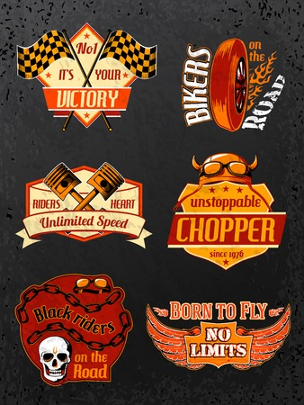 racer flag: Motorcycle bike badges set