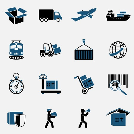 shipping by air: Logistic transportation service icons set  Illustration