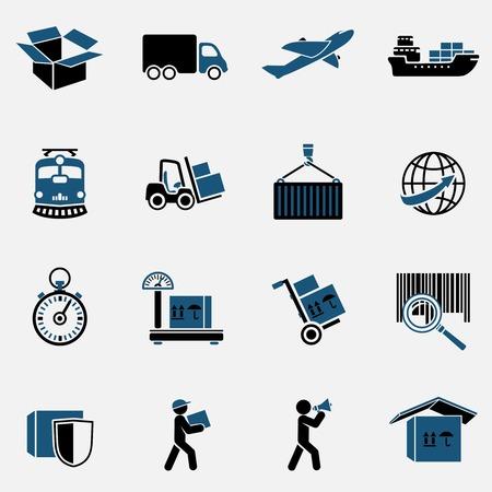 leveringen: Logistieke Diensten voor het vervoer pictogrammen instellen Stock Illustratie