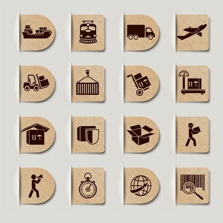 물류 운송 서비스는 글로벌 운송 및 배달 세트 레이블 일러스트