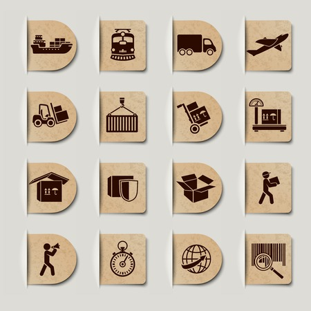 Logística etiquetas servicios de transporte establecidos de envío y de entrega global Foto de archivo - 26116823