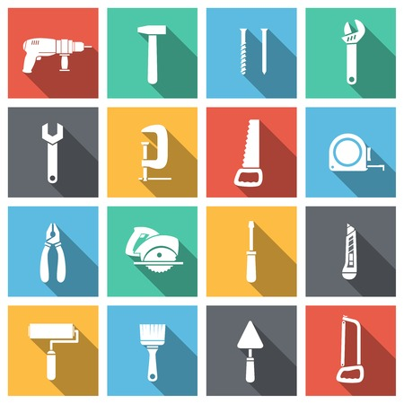 engineering tools: Tools flat icons set