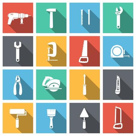 Werkzeuge Flach Symbole gesetzt