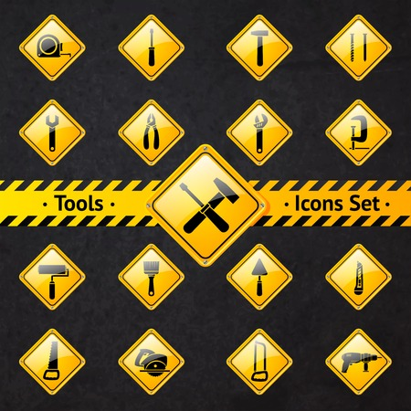 Toolbox attention yellow and black signs collection