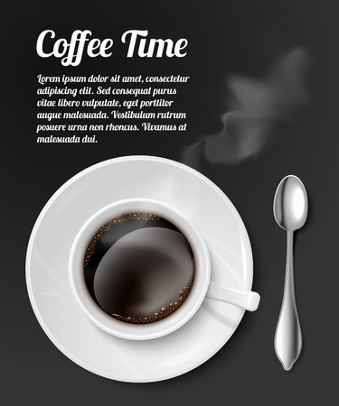 Print with realistic coffee cup filled with black classic espresso  Illustration