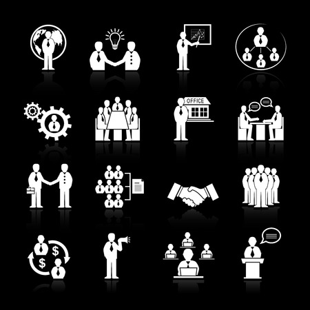 Business team meeting at office conference icons set  Vector