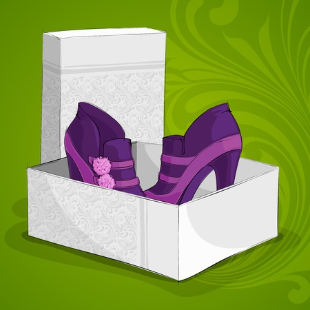 buckles: Fashion womans purple ankle boots with fluffy buckles in open box  Illustration