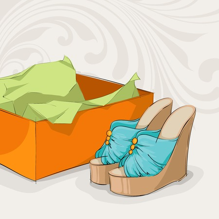present box: Stylish womans blue sandals near open present box with packaging paper