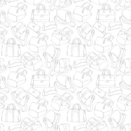 Seamless woman's stylish bags sketch pattern  Vector