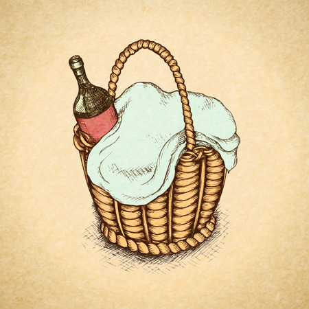 picnic basket: Vintage picnic basket with food and wine