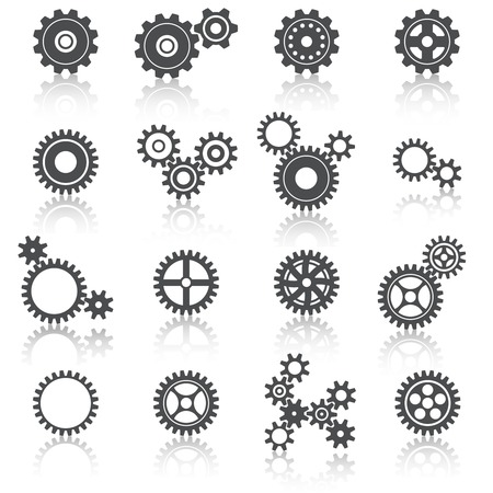 clockworks: Abstract technology cogs wheels and gears icons set