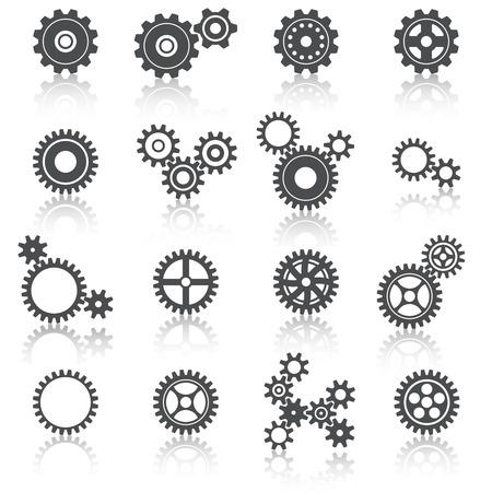 Abstracte technologie radertjes wielen en tandwielen pictogrammen instellen Stock Illustratie