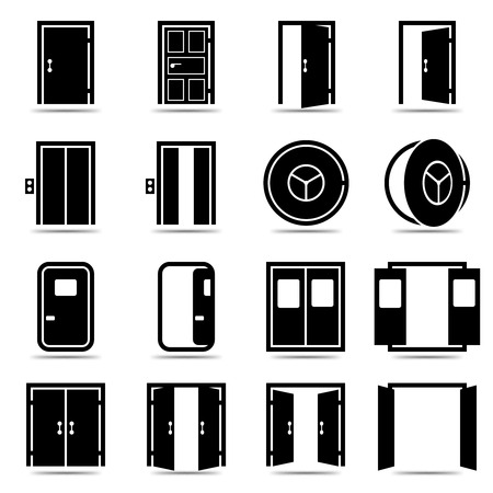 closed door: Open and closed doors icons set