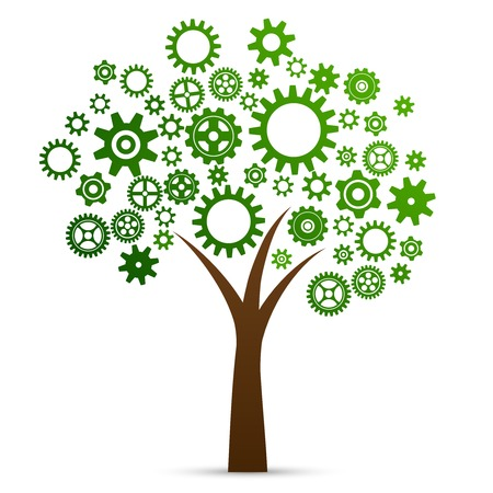 ingeniería: Concepto de innovación industrial árbol hecha de engranajes y engranajes