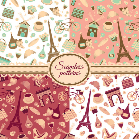 Collection of seamless patterns with Paris landmarks and France symbols Vector