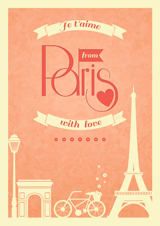 Love Paris vintage retro poster with eiffel tower and bike  Vector