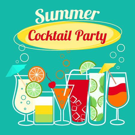 Bannière cocktails d'été de l'invitation de partie prospectus Banque d'images - 26150649