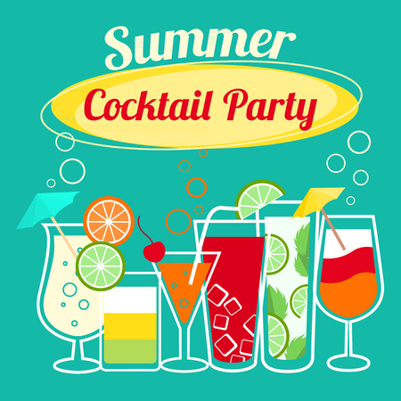 red straw: Summer cocktails party banner invitation flyer  Illustration