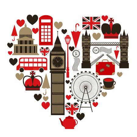 Love London hart symbool met pictogrammen instellen Stock Illustratie
