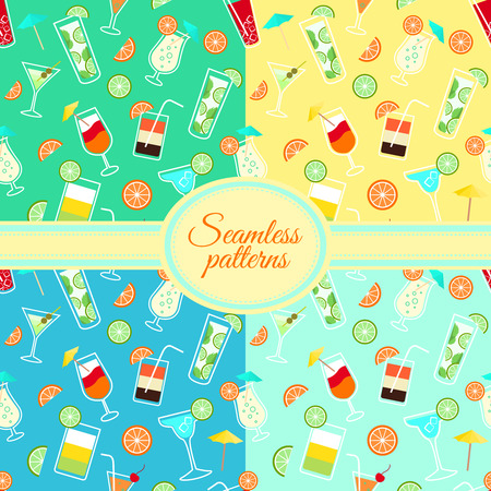 Collection of seamless patterns with alcohol cocktail drinks  Vector