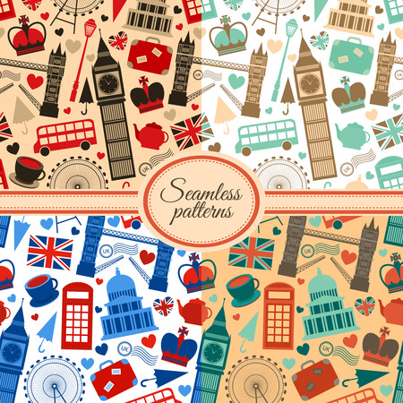 Collection of seamless patterns with London landmarks and Britain symbols  Vector