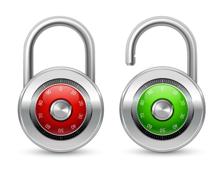 Open green and closed red realistic steel security lock icon  Vector