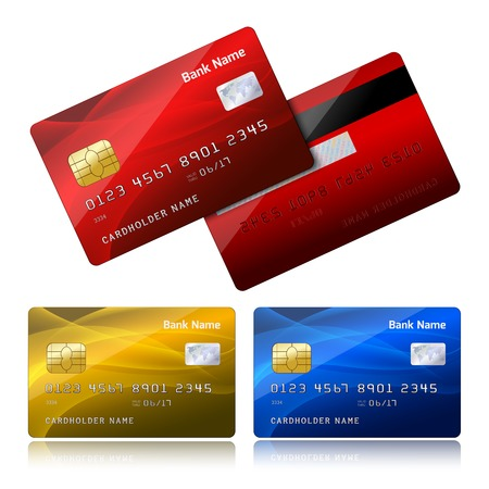 Front and back side of realistic bank credit card with security chip  Vector