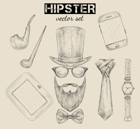 tobacco pipe: Hand drawn hipster accessories set  Illustration