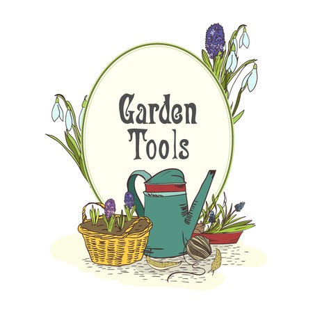 Hand drawn gardening tools emblem with watering can green saplings and seedlings illustration Vector